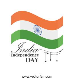 flag of happy india independence day detailed style icon vector design