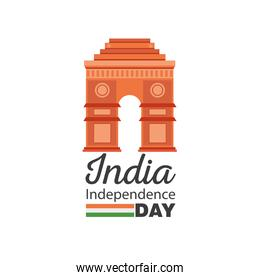 gate of happy india independence day detailed style icon vector design