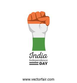 fist of happy india independence day detailed style icon vector design