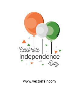 balloons of happy india independence day detailed style icon vector design