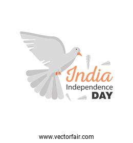 dove of happy india independence day detailed style icon vector design