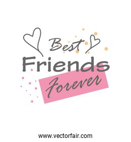best friends forever with hearts detailed style icon vector design