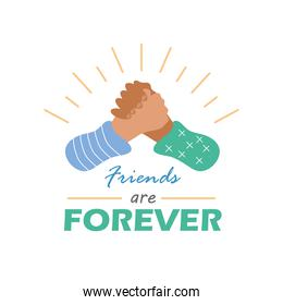 friends are forever with handshake detailed style icon vector design