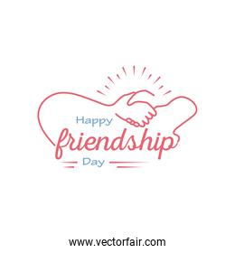 Happy friendship day with handshake detailed style icon vector design