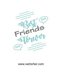 best friends forever with bubbles detailed style icon vector design