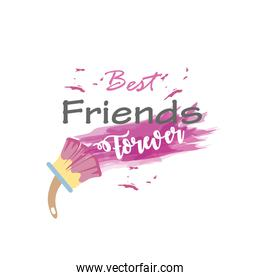 best friends forever with paint brush detailed style icon vector design