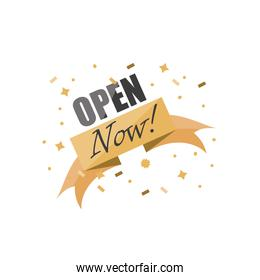 open now detailed style icon vector design