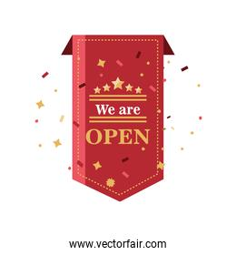 we are open detailed style icon vector design