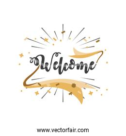 welcome detailed style icon vector design