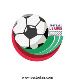 Soccer ball with goal detailed style icon vector design