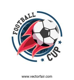 Soccer ball with flame detailed style icon vector design