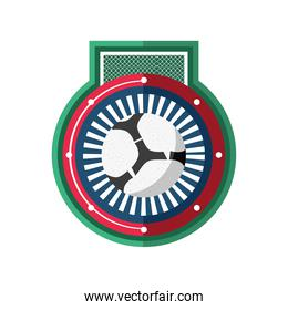 Soccer ball with goal on seal stamp detailed style icon vector design