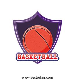 ball on shield of basketball detailed style icon vector design