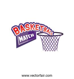 basket of basketball detailed style icon vector design