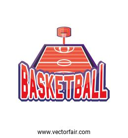 field of basketball detailed style icon vector design