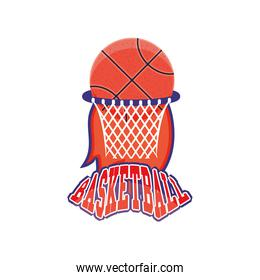 ball on basket of basketball detailed style icon vector design