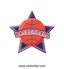 ball on star of basketball detailed style icon vector design