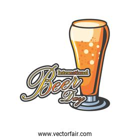 International beer day with glass detailed style icon vector design