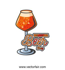 International beer day with glass cup detailed style icon vector design