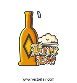 International beer day with yellow bottle detailed style icon