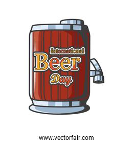 International beer day with wooden barrel detailed style icon  design