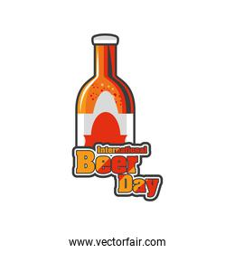 International beer day with gold bottle detailed style icon vector design