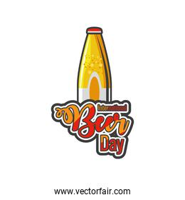 International beer day with yellow bottle detailed style icon vector design