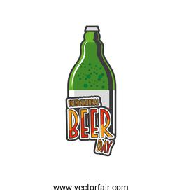 International beer day with green bottle detailed style icon vector design
