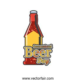 International beer day with brown bottle detailed style icon vector design