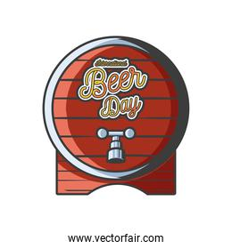 International beer day with wood barrel detailed style icon vector design