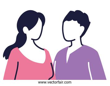 young couple cartoon on white background