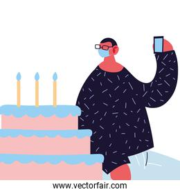 man with mask and birthday cake