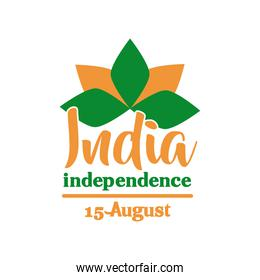 india independence day celebration with lutus flower flat