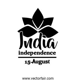 india independence day celebration with lutus flower silhouette style