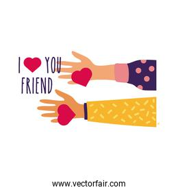 happy friendship day celebration with hands lifting hearts pastel hand draw style