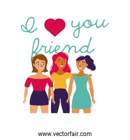 happy friendship day celebration with girls pastel hand draw style