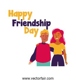 happy friendship day celebration with couple pastel hand draw style