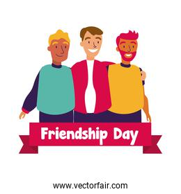 happy friendship day celebration with men group pastel hand draw style