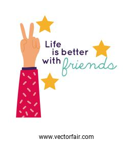 happy friendship day celebration with hand up and stars pastel hand draw style