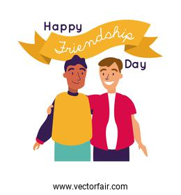 happy friendship day celebration with men couple pastel hand draw style