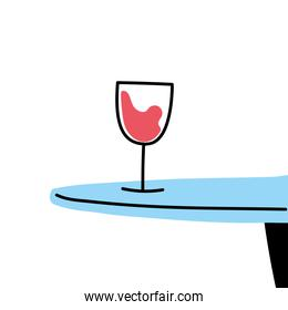 Isolated wine cup on table vector design