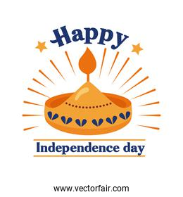 Independece day india celebration with candle flat style icon
