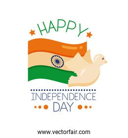Independece day india celebration with flag and dove flying flat style