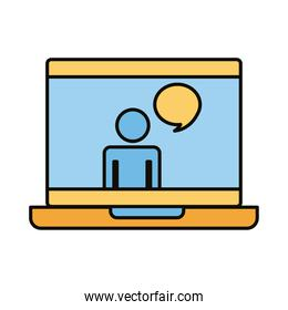 man in laptop with speech bubble line and fill style icon
