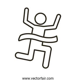 runner with finish tape avatar figure line style icon