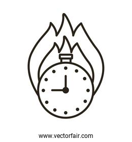 chronometer timer with flame line style icon
