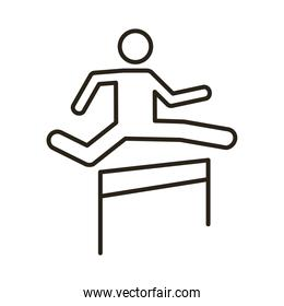 runner jumping obstacle avatar figure line style icon