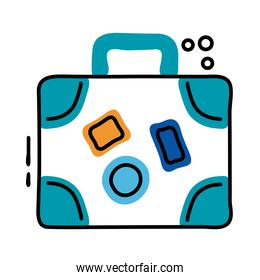 suitcase travel line and fill style icon
