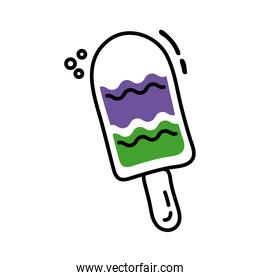 ice cream in stick line and fill icon