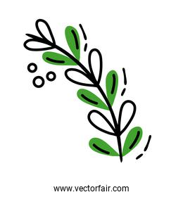 branch with leafs line and fill style